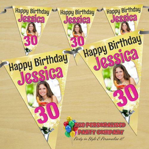 Personalised Happy Birthday Flag PHOTO Bunting Banner - N50 - Golden Champagne Burst